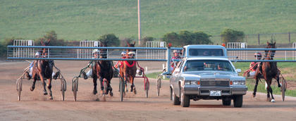 The horses and drivers line up to start a race.