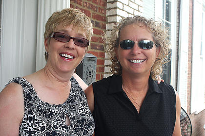Dawna Kelch and Kathleen Gribbins smile for the camera