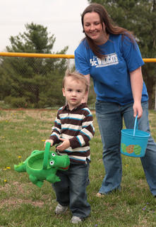 Nikki Wheatley was close by to help her son, Logan, 3.