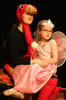"Libby Palagi plays the Thanksgiving Turkey and Ella Gottee plays the Tooth Fairy in ""Holiday Celebrities."""
