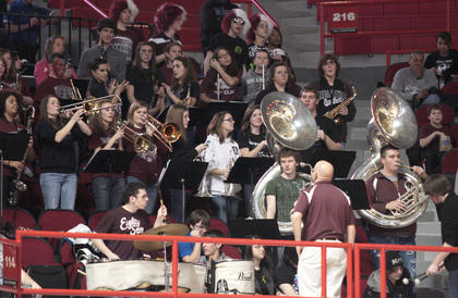 The Marion County High School band added some pep in the stands.
