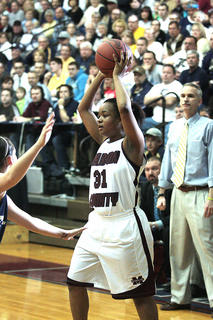 Senior Shakila Goodin looks to pass  the ball.