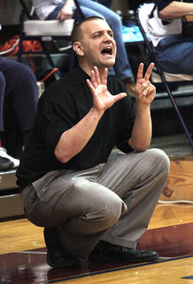 Lady Knights Head Coach Trent Milby shouts out plays during the 5th Region Championship.