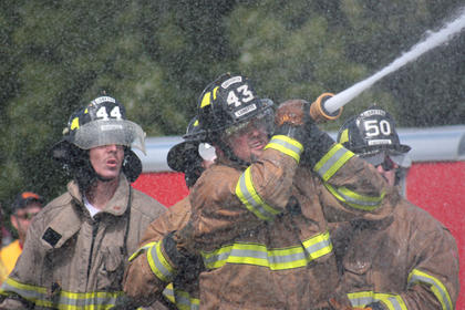 The Loretto Fire Department team works together during waterball.
