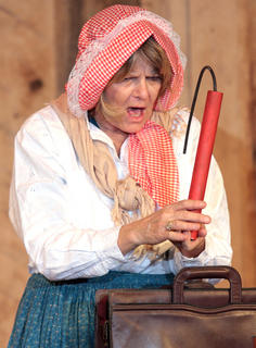 After Furlong leaves, Aunt Aggie finds a briefcase outside filled with dynamite and disguises.