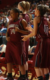 Timera Burton (No. 14) screams as the Lady Knights force Manual to take a timeout.