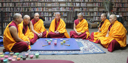 Tuesday morning, the monks chanted during as part of an opening ceremony before beginning their work on the mandala.