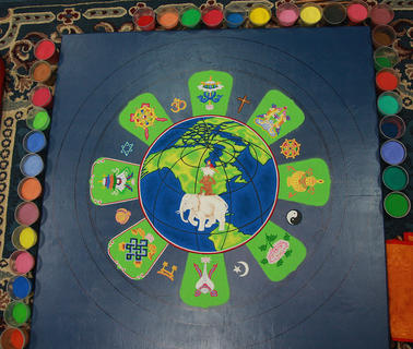 Here is what the mandala looked like at the start of the day on Thursday.