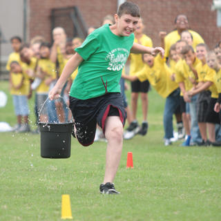 A member of the Calvary Elementary team dashes down the course.