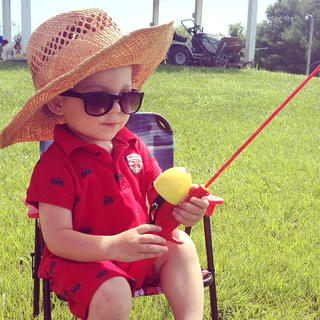 Tony and Mary Kaye Hutchins' grandson, Preston, goes fishing with his new fishing pole. Preston's aunt, Kathleen Hutchins, took this photo.