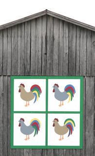 The roosters on this pattern are the only ones Martha Potter would let her husband have on their farm.