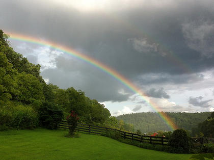 Lisa McCormick sent in this beautiful photo of a double rainbow that greeted her outside of her front door on Sunday, Aug. 18.