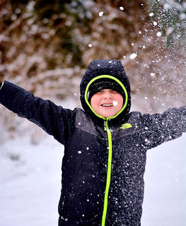 Nine-year-old Gabe Hardin plays in the snow.