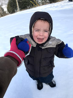 Grayson Brussell is not a big fan of the snow.