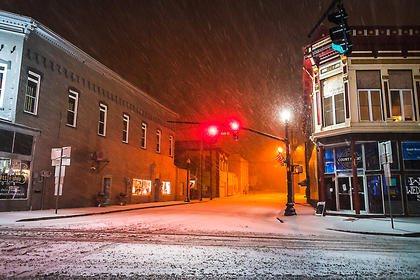 There were no cars to be seen on Friday evening, Jan. 13, in downtown Lebanon.
