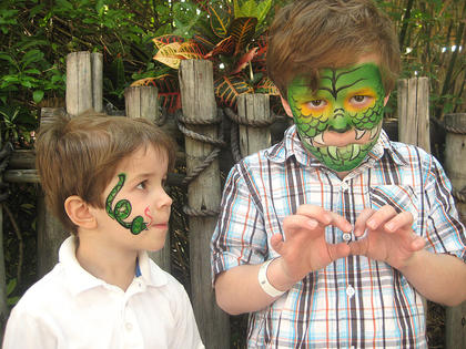 Six-year-old Henry Spragens and his 4-year-old brother Rye Spragens take face painting to a new level.