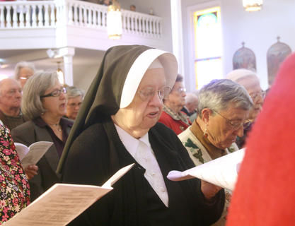 Sr. Charles Maureen Walker, 91, of the Sisters of Loretto returned to St. Charles for the 225th anniversary celebration. Walker was baptized in this church.