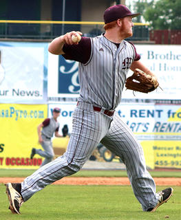 Third-baseman Davis Rafferty makes a throw to first base.