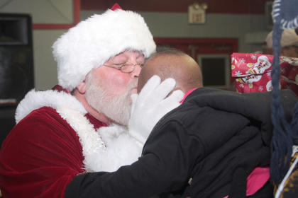 Santa added a kiss to go with the present.