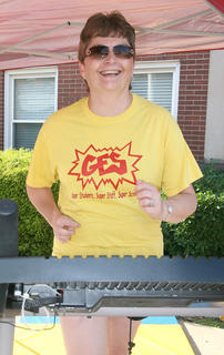 ... as Glasscock Elementary Principal Lee Ann Divine jogs on another.