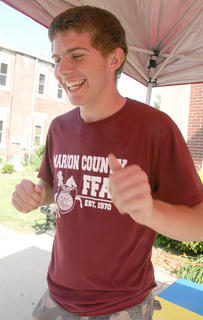 MCHS student Tyler Jones has a good time on the treadmill.