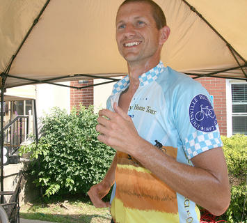 After recovering from a 102-mile bike ride, Greg West went for a run as well.