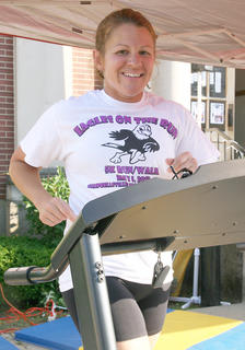 Shelly Peterson put in 45 minutes on the treadmill.