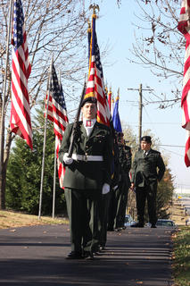 The Marion County High School JROTC members post the colors at the Veteran's Day program at the Lebanon National Cemetery Sunday, Nov. 7.