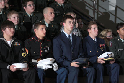 Marion County High School hosted a community Veterans Day program Nov. 11. Members of the JROTC honored all the branches of the military, and recognized the veterans who were in attendance.