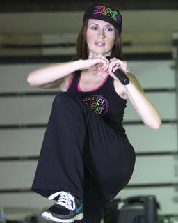 Schuhmann demonstrates a new routine for her class Feb. 17. For more information about Zumba, either stop by a class or email Schuhmann at jennifer9800@hotmail.com.