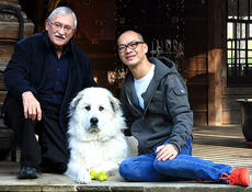 """<div class=""""source""""></div><div class=""""image-desc"""">Pictured are Jon Michael, his partner, Charlie, and their 3-year-old Great Pyrenees puppy, Franco. </div><div class=""""buy-pic""""></div>"""