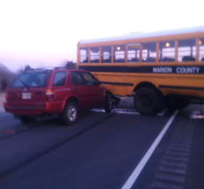 "<div class=""source"">Photo by Marion County Emergency Management Director Hayden Johnson</div><div class=""image-desc"">Pictured is the wreck scene after a Marion County school bus pulled into the path of a 1999 Honda this morning, nine miles west of Lebanon on US 68.</div><div class=""buy-pic""></div>"