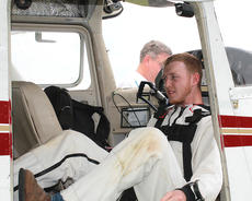 """<div class=""""source"""">Nicolas Schrager</div><div class=""""image-desc"""">Jamie Morris climbs into the plane for a practice run before his journey upward.  </div><div class=""""buy-pic""""><a href=""""/photo_select/36575"""">Buy this photo</a></div>"""