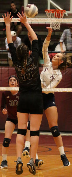 """<div class=""""source"""">Gerard Flanagan</div><div class=""""image-desc"""">Sarah Clark gets the ball over Campbellsville's Zoie Sidebottom in Marion County's win over Campbellsville on Thursday at the Roby Dome.</div><div class=""""buy-pic""""><a href=""""/photo_select/63709"""">Buy this photo</a></div>"""