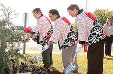 "<div class=""source"">Stephen Lega</div><div class=""image-desc"">From left, Toyota senior vice-president Atsushi Kume, TG Japan President Hajime Wakayama and State Sen. Dan Kelly shovel dirt on a cedar tree during a tree-planting ceremony to mark TG Kentucky's 10th anniversary in Lebanon. Kasey Thomas of TG Kentucky is</div><div class=""buy-pic""><a href=""/photo_select/6889"">Buy this photo</a></div>"