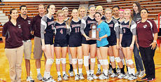"""<div class=""""source"""">Bobby Brockman/Central Kentucky News Journal</div><div class=""""image-desc"""">Pictured is the Lady Knights volleyball team with the district runner-up trophy. They lost to Taylor County Tuesday, Oct. 20. It's the first loss by the Lady Knights in the district finals since 2007. </div><div class=""""buy-pic""""><a href=""""/photo_select/45668"""">Buy this photo</a></div>"""
