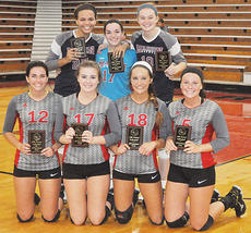 """<div class=""""source"""">Bobby Brockman/Central Kentucky News Journal</div><div class=""""image-desc"""">Pictured is the district tournament all-tourney team. Pictured, back row from left, are seniors Aubrey Logan, Alex Thomas and Madelyn Hagan. </div><div class=""""buy-pic""""><a href=""""/photo_select/45669"""">Buy this photo</a></div>"""
