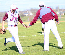 "<div class=""source"">Gerard Flanagan</div><div class=""image-desc"">Knights Head Coach Patrick Campbell greets Luke Abell at the dugout in Marion County's 5-2 win over Taylor County on April 9 at Dave Hourigan Field. </div><div class=""buy-pic""><a href=""/photo_select/60660"">Buy this photo</a></div>"