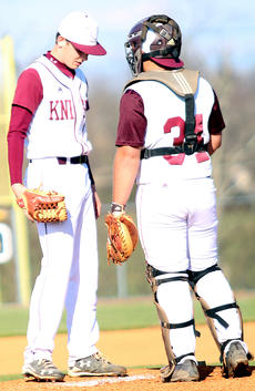 "<div class=""source"">Gerard Flanagan</div><div class=""image-desc"">Pitcher Luke Thomas and catcher Jacob Spalding talk on the mound in Marion County's 5-2 win over Taylor County on April 9 at Dave Hourigan Field. </div><div class=""buy-pic""><a href=""/photo_select/60662"">Buy this photo</a></div>"