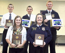 """<div class=""""source"""">Photo submitted</div><div class=""""image-desc"""">Pictured are recipients of the STAR awards, member of the year and 110% awards as part of the FFA awards banquet.  They are, from left, Michael Sandusky - Member of the Year, Brooklyn Russell - Star Greenhand, Cody Rakes - chapter and regional Star in Production, Angela Lyvers - 110% award, and Matthew Jones - Star in Placement</div><div class=""""buy-pic""""></div>"""