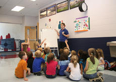 "<div class=""source"">Stephen Lega</div><div class=""image-desc"">West Marion Elementary kindergarten teacher Beth Cambron plays a game of hangman with her students. She taught class in the hallway at St. Charles Middle School Tuesday because of power outages at West Marion that morning.</div><div class=""buy-pic""><a href=""/photo_select/11571"">Buy this photo</a></div>"