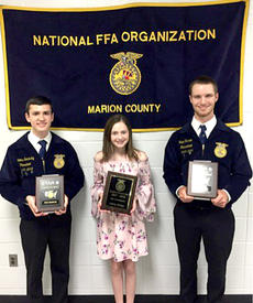 """<div class=""""source""""></div><div class=""""image-desc"""">Nick Sandusky was recognized as the STAR Chapter Farmer and winner of the 110% award. Aubrey Mealey was named STAR Greenhand/Outstanding Freshman.  Trent Farmer was named STAR in agriculture placement.  </div><div class=""""buy-pic""""></div>"""