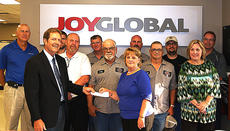"<div class=""source"">Photo submitted</div><div class=""image-desc"">The Joy Global Foundation has donated $10,000 to the Tri-County Kentucky United Way. The presentation of the check was made at the Lebanon plant to John G. Mattingly, associate director for the local United Way chapter.  Making the presentation was Human Resources Director Mary Cambron along with Site Manager Blaine Farmer and the Employee Relations Team. Tri-County Kentucky United Way is now in the beginning stages of its fall campaign for 2015 and serves the people of Marion, Nelson and Washington counties in Central Kentucky.</div><div class=""buy-pic""></div>"