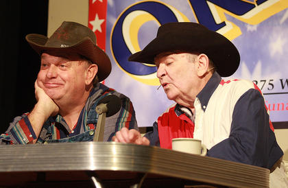 "In March, Mike Thacker (left) and Lynn Farris performed ""Greater Tuna,"" reviving their roles from 10 years earlier. The two-person show requires the actors to play a number of the townspeople from the fictitious town of Tuna, Texas."