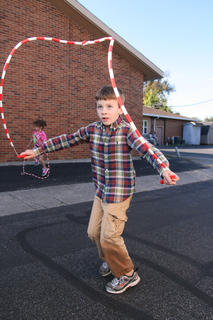 Jacob Morgan, 6, keeps his focus on his jump rope during the Ham Days kids games.