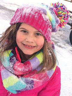 Lilly Kate Mattingly shows off her snow fashion and pretty smile.