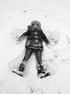 Marisha Mitchell makes a snow angel. Photo submitted by Lisha Mitchell.