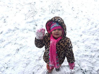 Ellie Jaeger, 2, loves the snow! Photo submitted by Mary Beth Jaeger.