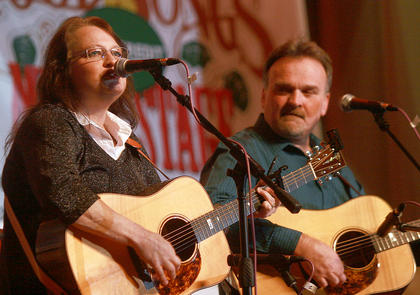 Dale Ann Bradley shows why she is a five-time IBMA female vocalist of the year during Saturday evening's dinner show. Steve Gulley accompanies Bradley on guitar.