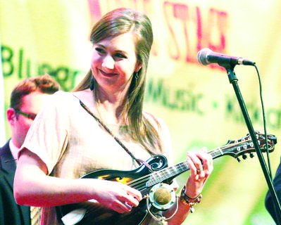 Kelsi Harrigill plays the mandolin with Flatt Lonesome.